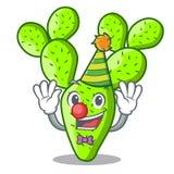 Clown cartoon the prickly pear opuntia cactus. Vector illustration stock illustration