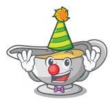Clown cartoon sauce boat with cream sauce. Vector illustration royalty free illustration