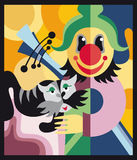 Clown and the cat in the circus. Vector illustration Royalty Free Stock Photos