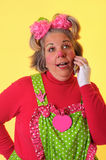 Clown With Cell Phone Stock Photography