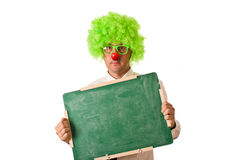 Clown with chalkboard Royalty Free Stock Photography