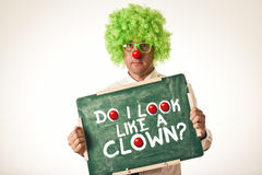 Clown with chalkboard Stock Photography