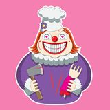 The clown character in the chef s hat holds an axe and a limb.  image vector illustration