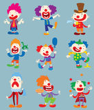 Clown character vector cartoon illustrations Royalty Free Stock Images