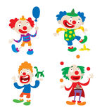 Clown character vector cartoon illustrations. Set of clown character performing different fun activities vector cartoon illustrations. Clown character funny stock illustration