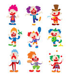 Clown character vector cartoon illustrations Stock Image