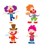 Clown character vector cartoon illustrations. Set of clown character performing different fun activities vector cartoon illustrations. Clown character funny vector illustration