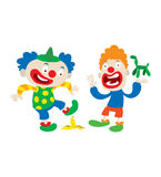 Clown character vector cartoon illustrations. Set of clown character performing different fun activities vector cartoon illustrations. Clown character funny royalty free illustration