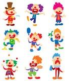 Clown character vector performing different fun activities cartoon illustrations. Clown character funny happy costume. Cartoon joker. Fun makeup and carnival vector illustration