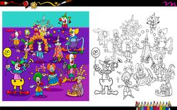 Clown characters group coloring book Royalty Free Stock Photo