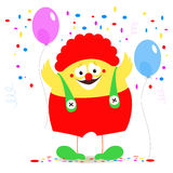 Clown chicken on a background of festive balloons and confetti. Royalty Free Stock Image
