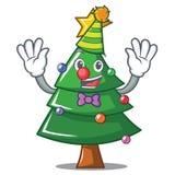 Clown Christmas tree character cartoon. Vector illustration Royalty Free Stock Photos