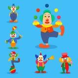Clown circus man characters performer carnival actor makeup clownery juggling clownish human cartoon illustrations.  royalty free illustration