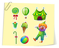 Clown and circus objects Royalty Free Stock Images