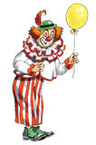 Clown circus red stage artist arena. Grotesque buffoon buffoonery viewer vector illustration