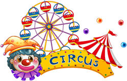 A clown with a circus signage and a ferris wheel at the back. Illustration of a clown with a circus signage and a ferris wheel at the back on a white background Stock Image