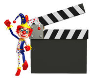 Clown with Clapper board. 3d rendered illustration of Clown with Clapper board Stock Photos