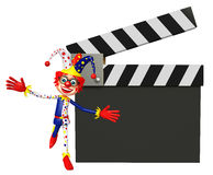 Clown with Clapper board. 3d rendered illustration of Clown with Clapper board Stock Photography