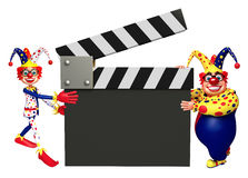 Clown with Clapper board. 3d rendered illustration of Clown with Clapper board Royalty Free Stock Photography