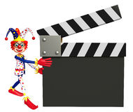 Clown with Clapper board. 3d rendered illustration of Clown with Clapper board Stock Images