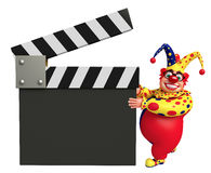 Clown with Clapper board. 3d rendered illustration of Clown with Clapper board Royalty Free Stock Images