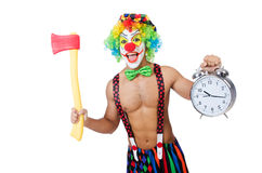 Clown with clock and axe. On white royalty free stock photos