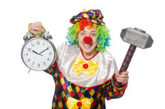 Clown with clock and hammer isolated on white Stock Photography