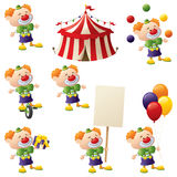 Clown Collection. Set of clowns in action complete with circus tent Stock Photography