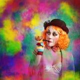 Clown colored smoke Stock Photography