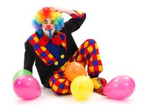 Clown with colorful balloons Stock Photos