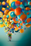 Clown with colorful balloons Royalty Free Stock Image