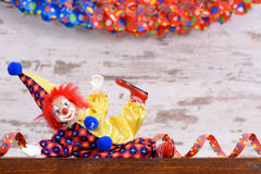 Clown with colorful costume at carnival party Royalty Free Stock Image