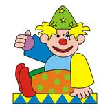 Clown. The colorful figure - clown holding a purple ball Royalty Free Stock Images