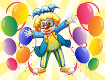 A clown with colorful party balloons royalty free illustration