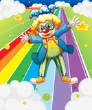 A clown at the colorful road Royalty Free Stock Photos