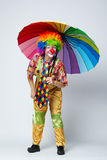 Clown with colorful umbrella on white Stock Images