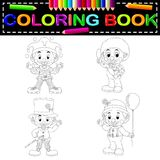 Clown coloring book. Illustration of clown coloring book Royalty Free Stock Photos
