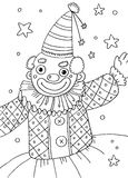 Clown Coloring Page. Line art children illustration suitable as a coloring sheet Royalty Free Stock Image