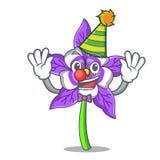 Clown columbine flower mascot cartoon. Vector illustration royalty free illustration