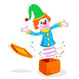 Clown coming out of Box Royalty Free Stock Images