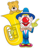 Clown, Contrabass and teddy. Royalty Free Stock Photo