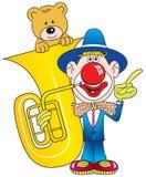 Clown, Contrabass und Teddybär. Lizenzfreies Stockfoto