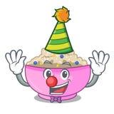 Clown cooked whole porridge oats in cartoon pan. Vector illustration royalty free illustration