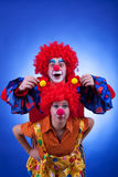 Clown couple on blue background Royalty Free Stock Photography