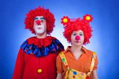 Clown couple on blue background Royalty Free Stock Image