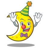 Clown crescent moon character cartoon Stock Image