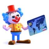 Clown 3d benutzt eine Kreditkarte Stockfoto
