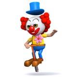 Clown 3d, der auf einen pogo Stock aufprallt Lizenzfreie Stockfotos