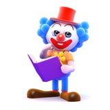 Clown 3d, der ein Buch liest Stockbilder