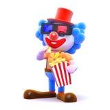Clown 3d, der Popcorn am Kino isst Lizenzfreie Stockfotografie